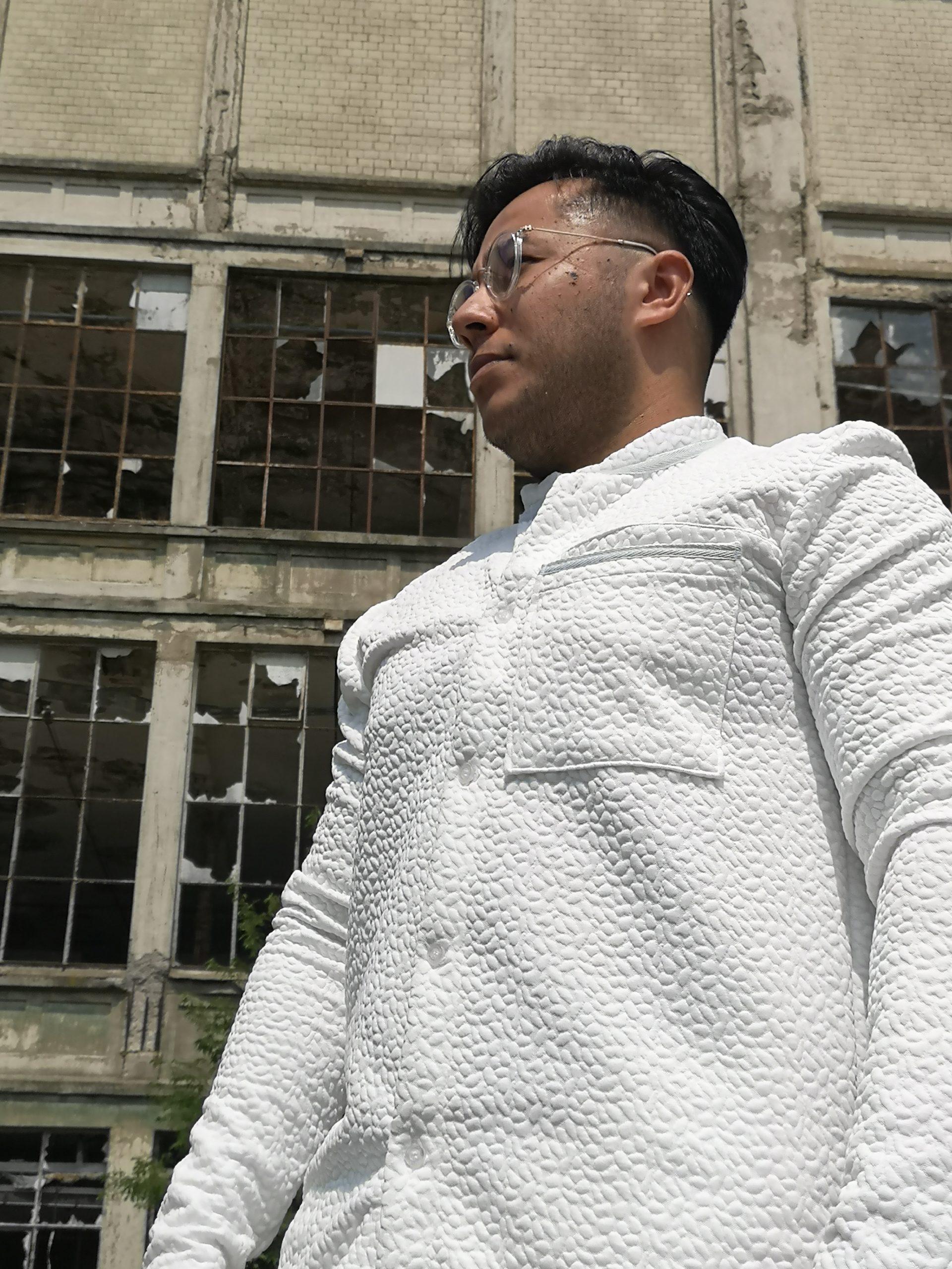 aynovo white set jacket blouse and shorts 2
