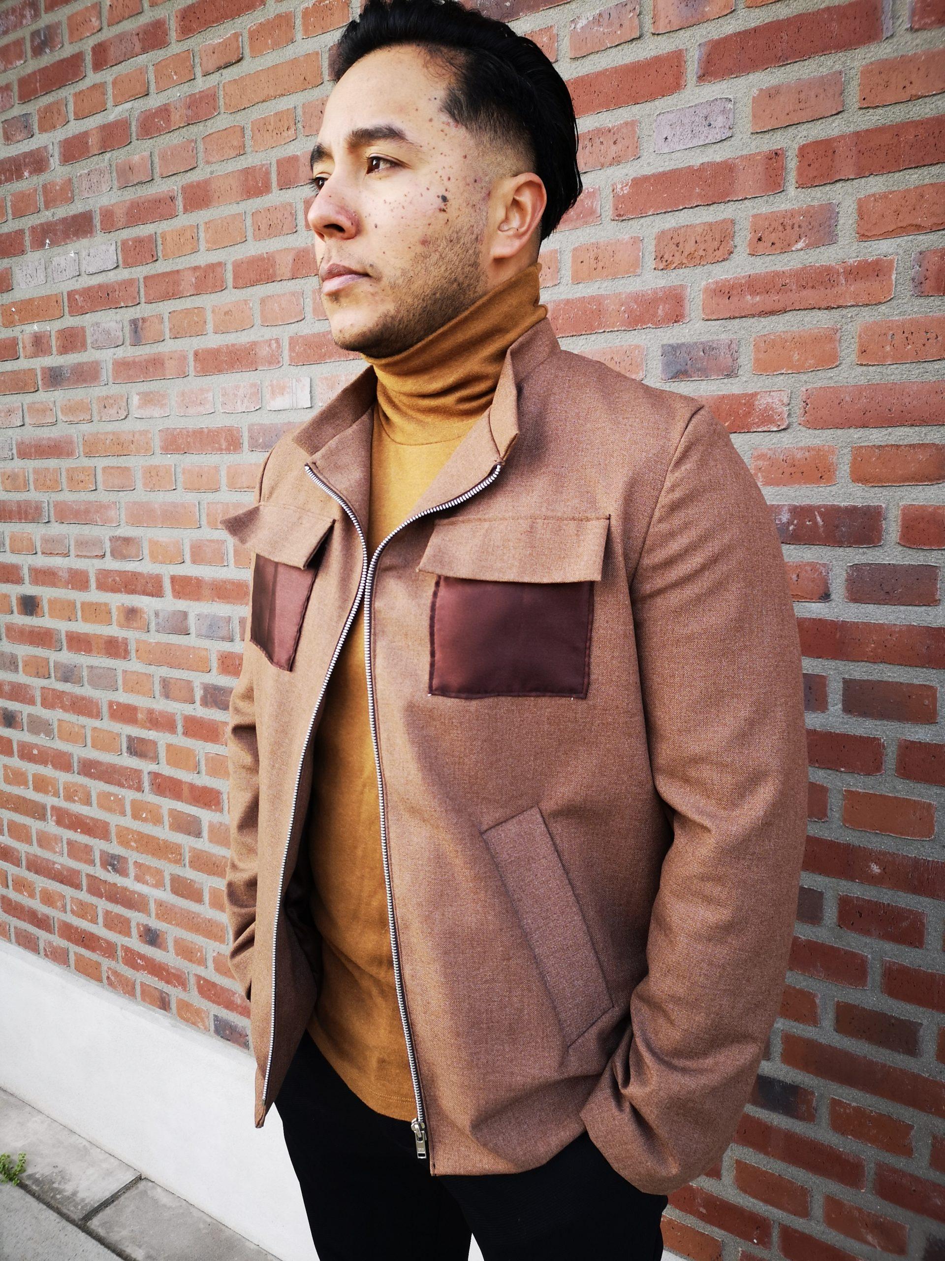 aynovo brown jacket satin 2